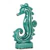 Ceramic Seahorse Figurine with Rectangular Base LG Gloss Finish Cadet Turquoise