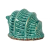 Ceramic Conch Seashell Sculpture with Ridges Distressed Gloss Finish Cadet Blue