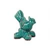Ceramic Sulfur-Crested Cockatoo Bird Figurine on Branch Base Gloss Finish Cadet Blue