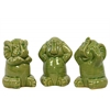 Ceramic Sitting Elephant No Evil (Hear/Speak/See) Figurine Assortment of Three Gloss Finish Green