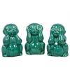 Ceramic Sitting Monkey No Evil (Hear/Speak/See) Figurine Assortment of Three Gloss Finish Turquoise