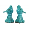 Ceramic Bird Figurine on Tripod Pedestal Assortment of Two Distressed Gloss Finish Blue
