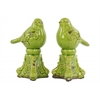 Ceramic Bird Figurine on Tripod Pedestal Assortment of Two Distressed Gloss Finish Green
