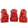 Ceramic Monkey No Evil (Hear/Speak/See) Figurine  Assortment Of Three Gloss Finish Red