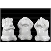 Ceramic Elephant No Evil (Hear/Speak/See) Figurine Assortment of Three Gloss Finish White