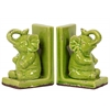 Stoneware Sitting Trumpeting Elephant Figurine on Base Bookend Set of Two Distressed Gloss Finish Yellow Green