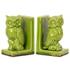 Stoneware Owl Figurine Perched on a Tree Branch Bookend Set of Two Distressed Gloss Finish Yellow Green