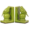 Stoneware Bird Figurine on Spherical Pedstal Bookend Set of Two Distressed Gloss Finish Yellow Green