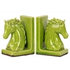 Stoneware Horse Head on Base Bookend Set of Two Distressed Gloss Finish Yellow Green