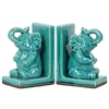 Stoneware Elephant Bookend Assortment of Two Gloss Finish Turquoise