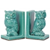 Stoneware Owl Bookend Assortment of Two Gloss Finish Turquoise