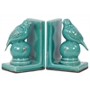 Stoneware Bird Bookend Assortment of Two Gloss Finish Turquoise