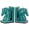 Stoneware Horse Head on Base Bookend Assortment of Two Distressed Gloss Finish Turquoise