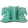 Stoneware Horse Head on Base Bookend Set of Two Distressed Gloss Finish Cyan