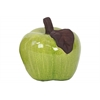 Stoneware Apple Figurine with Brown Stem and Leaf Gloss Finish Chartreuse Green