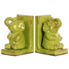 Stoneware Sitting Trumpeting Elephant Figurine on Base Bookend Assortment of Two Distressed Gloss Finish Yellow Green