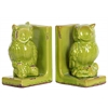 Stoneware Owl Figurine Perched on a Tree Branch Bookend Assortment of Two Distressed Gloss Finish Yellow Green