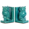 Stoneware Owl Perched on a Tree Branch Bookend Assortment of Two Distressed Gloss Finish Turquoise