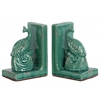 Ceramic Peacock Bookend Assortment of Two Gloss Finish Cyan