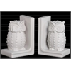 Ceramic Standing Owl with Studs Bookend Assortment of Two Matte Finish White
