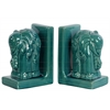 Ceramic Elephant Bookend Assortment of Two Gloss Finish Turquoise
