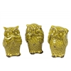 Ceramic Owl No Evil (Hear/Speak/See) Figurine Assortment of Three Distressed Gloss Finish Yellow Green
