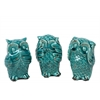 Ceramic Owl No Evil (Hear/Speak/See) Figurine Assortment of Three Distressed Gloss Finish Turquoise