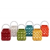 Ceramic Square Lantern with Cutout Design and Metal Handle Assortment of Six Gloss Finish Assorted Color (Red, White, Yellow, Orange, Turquoise and Yellow Green)