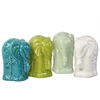 Ceramic Standing Elephant Figurine Assortment of Four Assorted Color Gloss Finish (Turquoise, Cyan, White, and Yellow Green)