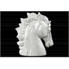 Ceramic Horse Head LG Marbleized with Gray Streaks Gloss Finish White