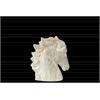 Ceramic Horse Head SM Marbleized with Gray Streaks Gloss Finish Cream