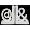 """Ceramic Alphabet Sculpture """"@&"""" Bookend LG Assortment of Two Gloss Finish White"""