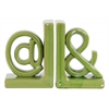 "Ceramic Alphabet Sculpture ""@&"" Bookend LG Assortment of Two Gloss Finish Green"