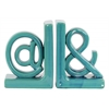 "Ceramic Alphabet Sculpture ""@&"" Bookend LG Assortment of Two Gloss Finish Turquoise"