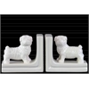Ceramic British Bulldog Figurine Bookend Assortment of Two Gloss Finish White