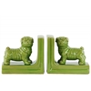 Ceramic British Bulldog Figurine Bookend Assortment of Two Gloss Finish Green
