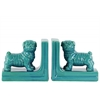 Ceramic British Bulldog Figurine Bookend Assortment of Two Gloss Finish Turquoise