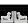 Ceramic Duchshund Dog Figurine Bookend Assortment of Two Gloss Finish White
