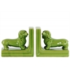 Ceramic Duchshund Dog Figurine Bookend Assortment of Two Gloss Finish Green