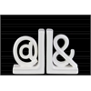"Ceramic Alphabet Sculpture ""@&"" Bookend SM Assortment of Two Gloss Finish White"