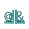"Ceramic Alphabet Sculpture ""@&"" Bookend SM Assortment of Two Gloss Finish Turquoise"