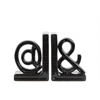 "Ceramic Alphabet Sculpture ""@&"" Bookend SM Assortment of Two Gloss Finish Black"