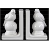 Ceramic Perching Bird on a Ball Pedestal Bookend Assortment of Two Gloss Finish White