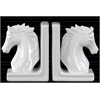 Ceramic Horse Bust on Base Bookend Assortment of Two Gloss Finish White