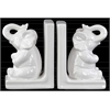 Ceramic Sitting Trumpeting Elephant Bookend Assortment of Two Gloss Finish White