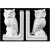 Ceramic Owl FIgurine Bookend Assortment of Two Gloss Finish White