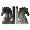 Ceramic Horse Bust on Base Bookend Assortment of Two Marbleized Gloss Finish Black