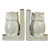 Ceramic Owl Figurine Bookend Assortment of Two Marbleized Gloss Finish Cream