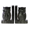 Ceramic Owl Figurine Bookend Assortment of Two Marbleized Gloss Finish Black