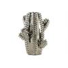 Ceramic Cactus Shaped Vase Polished Chrome Finish Silver